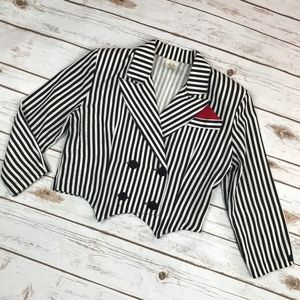 VTG Black White Striped Cropped Tuxedo Jacket 80s